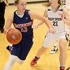 (Brad Davis/The Register-Herald) Independence's Makenzie Holley drives along the perimeter as Shady Spring's Brooklyn Gibson defends Thursday night in Shady Spring.