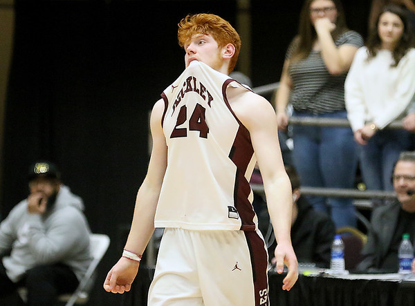(Brad Davis/The Register-Herald) Woodrow Wilson's Ben Gilliam reacts as the Flying Eagles come up short in an overtime loss to Cabell Midland Thursday night at the Beckley-Raleigh County Convention Center.
