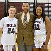 (Brad Davis/The Register-Herald) Head coach Brian Nabors with senior players Victoria Staunton (#23) and Liz Cadle (#24) prior to the Lady Flying Eagles' game against South Charleston Wednesday night in Beckley.