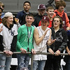 (Brad Davis/The Register-Herald) Woodrow students react to events on the court during a blowout win against Riverside Wednesday night at the Beckley-Raleigh County Convention Center.