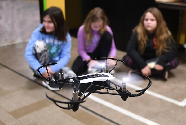 Students flying drones in Tonya Sexton's 4th grade STEM lab class at Shady Spring Elementary School.<br /> (Rick Barbero/The Register-Herald)