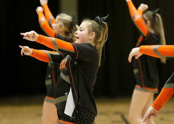 (Brad Davis/The Register-Herald) Summers County cheerleaders perform during a break during Big Atlantic Classic action Wednesday night at the Beckley-Raleigh County Convention Center.