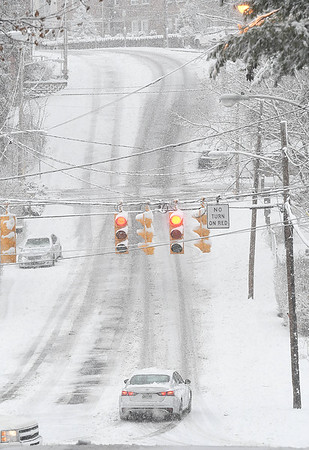 Second Street in Beckley covered with snow and ice Tuesday morning.<br /> (Rick Barbero/The Register-Herald)
