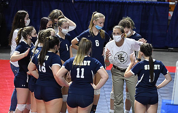 Head coach Kelly Williams, of Shady Spring, speaks to her team in game againt Robert C Byrd in the semi-final match of the Girl Calss AA State Volleyball Tournament held at the Charleston Civic Center Friday afternoon. Shady won the match 3-1<br /> (Rick Barbero/The Register-Herald)