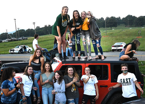 Greenbrier East students watching game against Woodrow Wilson Friday night outside the  stadium at Greenbrier East High School in Fairlea Friday night.<br /> (Rick Barbero/The Register-Herald)