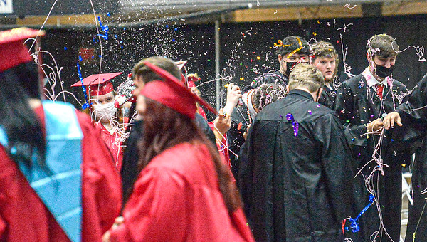 F. Brian Ferguson/Register-Herald  Newly graduated Liberty High School students celebrate their big day on Saturday at the Beckley-Raleigh County Convention Center.