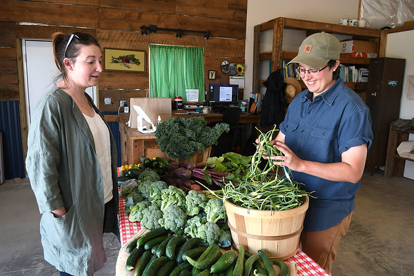 Skye Dexter, community food system coordinator, right, grabs a large handful of garlic capes for Nicole Svajlenka, of Hico at New Roots Community Farm on 167 Wolf Creek Road in Fayetteville. The Farm host an open farm market every Thursday from 1-6 p.m.<br /> (Rick Barbero/The Register-Herald)