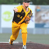 Johnstown Millrats pitcher Will Lozinak throws a fastball toward the plate during a game with the WV Miners. Jon C. Hancock/for the Register-Herald