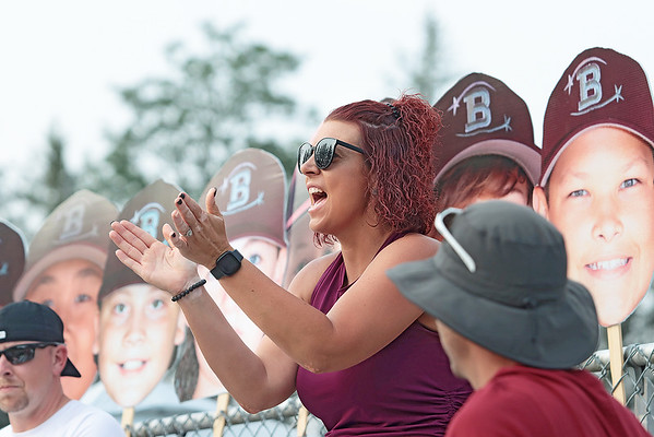 Samantha Gordon cheers for her son playing in the State Little League game against Barboursville Tuesday in Lewisburg. Jenny Harnish/The Register-Herald