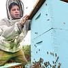 Clinton Taylor, of Appalachian Headwaters, working the bee hives to make honey at Camp Waldo in Hinton<br /> (Rick Barbero/The Register-Herald)