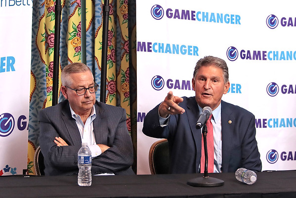 Senator Joe Manchin and Joe Boczek answer questions from reporters about West Virginia Game Changers at a press conference at The Greenbrier Resort Wednesday. Game Changers is an initiative designed to educate and develop substance misuse prevention education programs for West Virginia children and teenagers.  Jenny Harnish for the Register-Herald