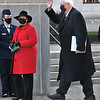 West Virginia Governor Jim Justice waves as he arrives with his wife Cathy at the North side of the Capitol in Charleston where he was sworn in for his second term.  (Craig Cunningham/The Register-Herald)