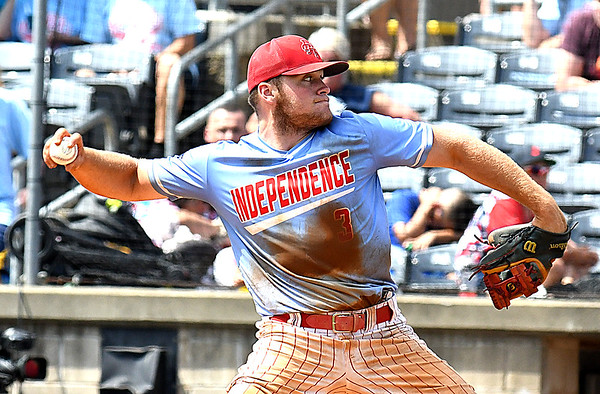 Atticus Goodson, of Independence, delivers a pitch against North Marion during the semi-final State Baseball Tournament held at Appalachian Power Park in Charleston Friday morning.<br /> (Rick Barbero/The Register-Herald)