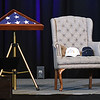 An empty chair was placed on the stage of Gen. Chuck Yeager's Memorial Service held at the Charleston Coliseum and Convention Center Friday afternoon for a tribute of the late fighter pilot.<br /> (Rick Barbero/The Register-Herald)