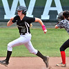 Wyoming East's Olivia Hylton rounds second on her way to an in the park home run against Pikeview putting Wyoming East ahead 3 to 1 in the first inning.
