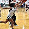 Wyoming East's Daisha Summers and Champmanville's Hollee Blair go for a rebound.