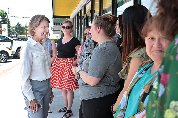 Sen. Shelley Moore Capito meets with a group of women who own new businesses in downtown White Sulphur Springs Friday.  Jenny Harnish for the Register-Herald