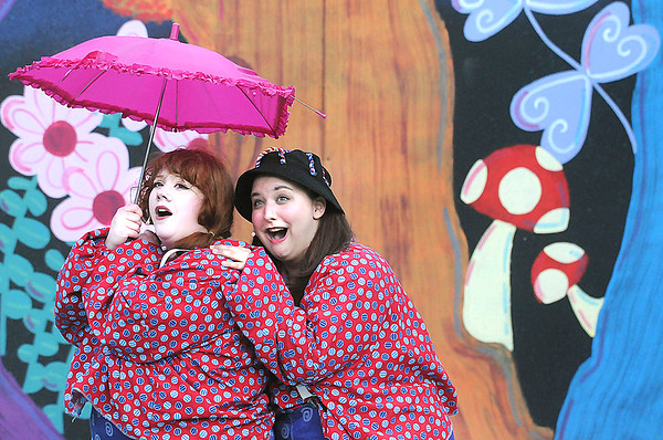 Tweedledum and Tweedledee, played by Moira Williamson and Josie Jarrett, announce the coming of the Jabberwok. During the debut of Alice in Wonderland at TWV. Jon C. Hancock/for the Register-Herald