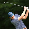 Tanner Vest tees off on the par 4, 8th hole during the final round of the Mountain State Golf Classic held on the Cobb course Monday.<br /> (Rick Barbero/The Register-Herald)