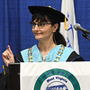 Bonny Copenhaver, president and commencement speaker, talks to the 2020 and 2021 graduates of New River Community & Technical College at the Beckley-Raleigh County Convention Center Saturday morning.<br /> (Rick Barbero/The Register-Herlad)