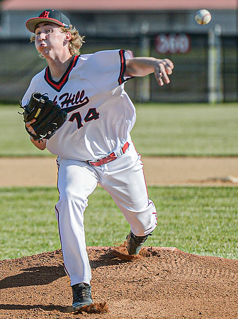 F. Brian Ferguson/Register-Herald Oak Hill pitcher Bradley Lokant delievers against Independence during Wednesday evening action in Oak Hill.