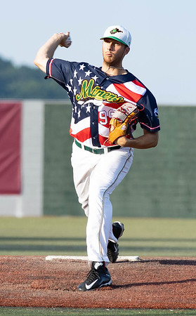 Tom Walker on the mound for WV Miners against the Lafayette Aviators.<br /> Tina Laney/for The Register-Herald