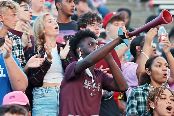 Woodrow fans cheer during the game between Woodrow Wilson and Riverside high schools Friday at Woodrow Wilson High School. Jenny Harnish/The Register-Herald