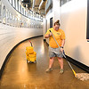 """Bailley Nash along with 200 WVU Tech students particiapted in the Golden Bears """"Give Back Day of Service"""" working on various projects at the Beckley-Raleigh County Convention Center Tuesday morning from 9 am to noon."""