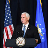 Vice president Mike Pence speaks during a memorial service honoring Chuck Yeager at the Charleston Coliseum Convention Center Friday afternoon. On October 14, 1947, Yeager became the first man to fly faster than the speed of sound thus enabling mankind to go into space. Yeager died last month at the age of 97.<br /> (Rick Barbero/The Register-Herald