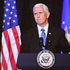 Vice president Mike Pence speaks during a memorial service honoring Chuck Yeager at the Charleston Coliseum Convention Center Friday afternoon. On October 14, 1947, Yeager became the first man to fly faster than the speed of sound thus enabling mankind to go into space.<br /> (Rick Barbero/The Register-Herald