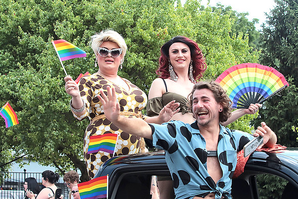 Drag queens participate in the Inaugural Greenbrier Valley Pride parade in downtown Lewisburg Saturday.  Jenny Harnish for the Register-Herald