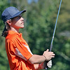 Summer's County's Michael Sprague looks after his shot during the Class A Region 3 golf tournament at Pipestem Resort State Park Monday. Jenny Harnish/The Register-Herald