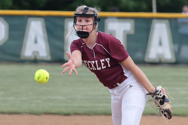 Woodrow Wilson's Kacee Fansler pitches against Greenbrier East during the Class AAA Region 3, Section 2 game against Woodrow Wilson High School in Fairlea Tuesday. Jenny Harnish for the Register-Herald
