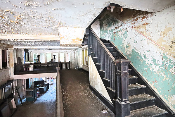 The second floor overlooking the lobby in the Wyoming Hotel in Mullens. The building, which has stood empty since the 1980's, was donated to the town and several organizations would like to see it restored to a hotel and restaurant. Renovations on the building will begin in September but additional funding is needed to complete the project. Jenny Harnish/The Register-Herald