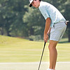 Todd Duncan looks after his putt during the 102nd West Virginia Amateur Championship golf tournament at The Greenbrier Monday. Jenny Harnish/The Register-Herald