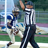Tyler Mackey of Shady Spring scores the first touchdown of the season on the new field against Tug Valley Friday night with a pass from QB Cameron Manns.<br /> Tina Laney/for The Register-Herald