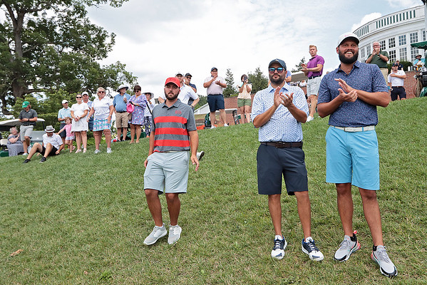 Spectators applaud while watching the awards ceremony for the 102nd West Virginia Amateur at The Greenbrier in White Sulphur Springs Wednesday.  Jenny Harnish/The Register-Herald