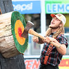 Lumberjack Trask Hill competes in an axe throwing competition at the Timberworks Lumberjack Show at the State Fair of West Virginia Thursday. Jenny Harnish/The Register-Herald