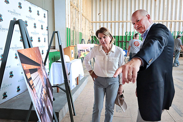 Sen. Shelley Moore Capito tours the new Schoolhouse Hotel with president and CEO of The Disability Opportunity Fund Charles Hammerman in dowtown White Sulphur Springs Friday. Jenny Harnish for the Register-Herald