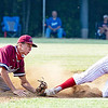 Carson Brown of Indepedence is tagged out by Bluefield's Huner Harmon trying to steal 2nd base.<br /> Tina Laney for Register-Herald