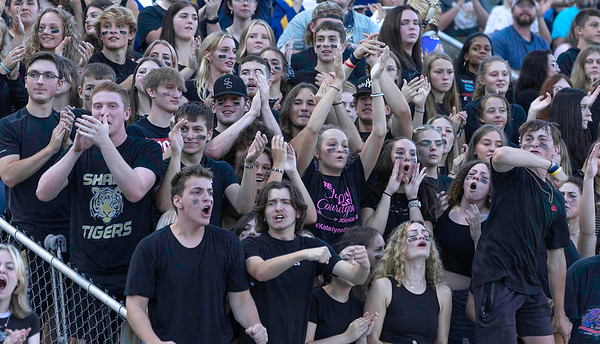 Shady Spring student section celebrates during Friday nights game against Tug Valley.<br /> Tina Laney/for The Register-Herald