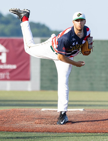 Tom Walker on the mound for the WV Miners against Lafayette Aviators.<br /> Tina Laney/for The Register-Herald