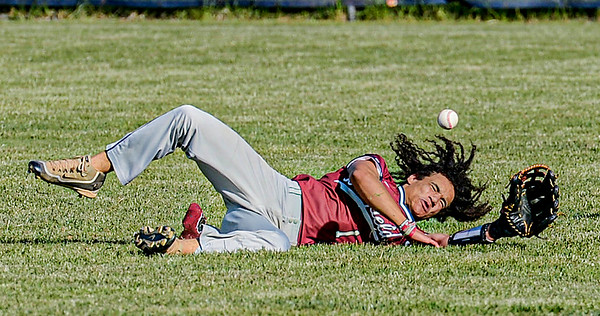 F. Brian Ferguson/Register-Herald Bluefield centerfielder Brandon Wiley just misses an attempt at a diving catch during Thursday action in Shady Spring.