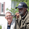 CV Thompson speaks at the dedication of the new Bill Withers historical marker across from Stratton Elementary School in Beckley Saturday.  Thompson attended Stratton High School with Bill Withers when it was segregated.  Jenny Harnish for the Register-Herald