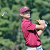 Pocahontas County's Ben Dunz looks after his tee during the Class A Region 3 golf tournament at Pipestem Resort State Park Monday. Jenny Harnish/The Register-Herald
