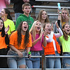 Greenbrier East fans cheering after East scored a touchdown in the first quarter during game against Woodrow Wilson at VanMeter Stadium in Beckley Friday night.<br /> (Rick Barbero/The Register-Herald)
