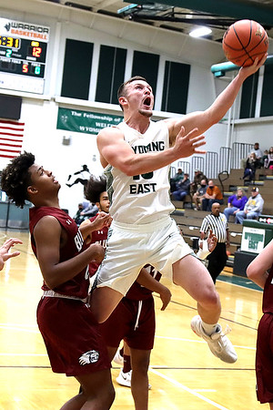 Wyoming East's Dakota Cooper goes up for two.
