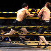 Christopher Barbera on the left and Zachary Mills during the Toughman Contest.  Christopher Barbera with a K/O during tonights Championship.<br /> Tina Laney/for The Register-Herald