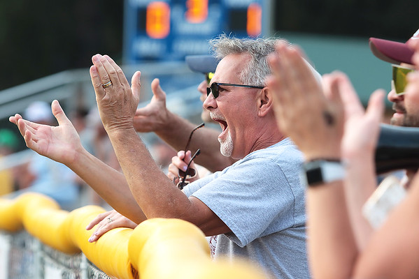 Ronnie Midkiff cheers for his grandson at the State Little League game against Barboursville Tuesday in Lewisburg. Jenny Harnish/The Register-Herald