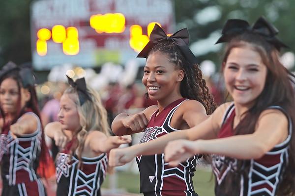 Cheerleaders dance during the game between Woodrow Wilson and Riverside high schools Friday at Woodrow Wilson High School. Jenny Harnish/The Register-Herald